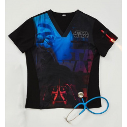 Camiseta Medica Estampada Cherokee Tooniforms Star Wars Infrared